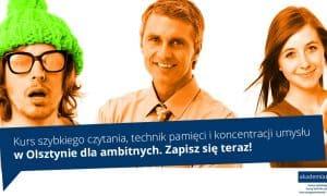Kurs szybkiego czytania, pamięci i rozwoju IQ dla dorosłych. Akademia w Olsztynie.