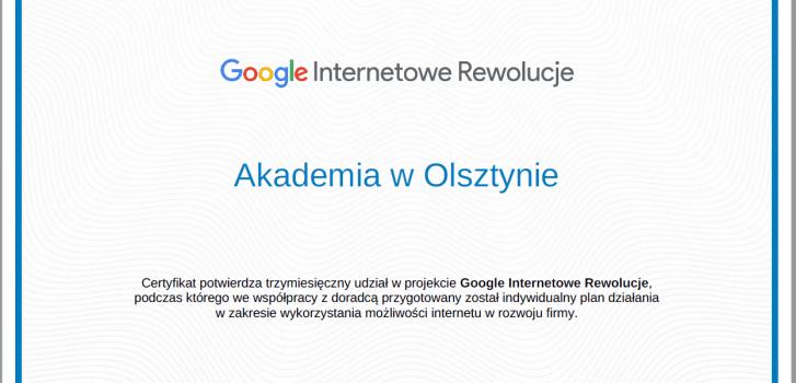 Certyfikat Google dla Akademii w Olsztynie